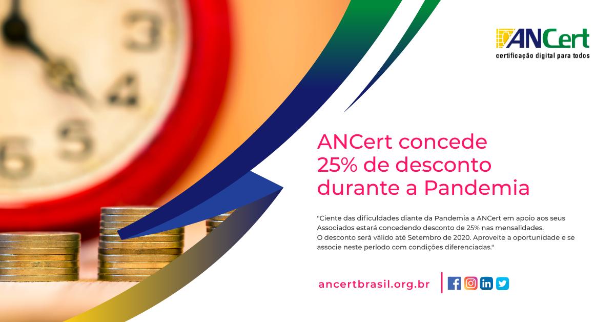ANCert concede 25% de desconto aos Associados durante a Pandemia